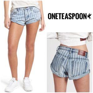 One Teaspoon Bandit Stripe Blue Denim Shorts